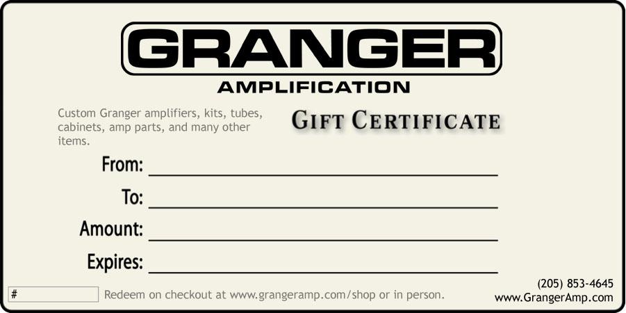 Granger Amp GIFT CERTIFICATE
